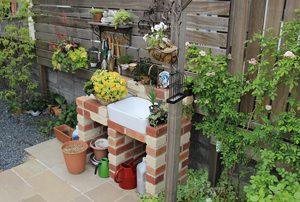 レンガ,腰高立水栓,ガーデニング,水受け,おしゃれなお庭,グレイスオブガーデン